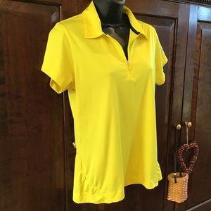 Slazenger yellow golf zip polo, feminine style